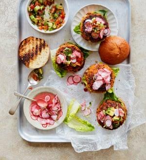 Anna Jones' roast carrot burger with avocado salsa.