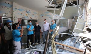 Ted Chaiban (C), UNICEF Regional Director for the Middle East and North Africa, visits Karantina Governmental Hospital, in Beirut, Lebanon, 17 August 2020.