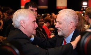 John McDonnell embraces Jeremy Corbyn