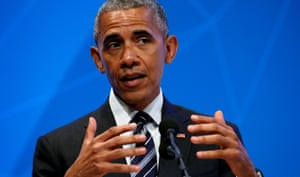 U.S. President Barack Obama speaks about Brexit at the Global Entrepreneurship Summit at Stanford University in Palo Alto, California, today.