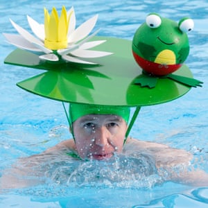Headgear included a lily pad and an igloo.
