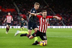 James Ward-Prowse of Southampton goes into the box under pressure Oleksandr Zinchenko.