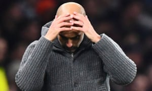 Pep Guardiola, pictured during Manchester City's defeat at Spurs on Tuesday, effectively created the conditions for the game to become a physical battle.