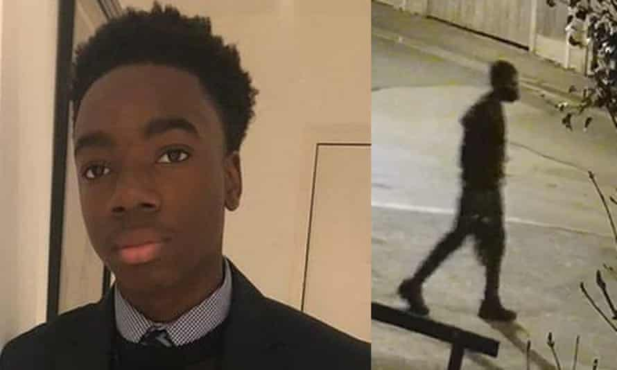 Photo of missing Richard Okorogheye alongside a screen grab of CCTV footage dated 23 March of him in Loughton, in the Epping Forest district of Essex