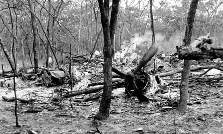 The wreckage of Dag Hammarskjöld' aircraft at Ndola on 19 September 1961