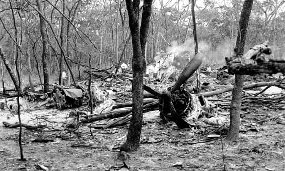 The scattered wreckage of the Douglas DC-6 carrying Dag Hammarskjöld in a forest near Ndola, Zambia.