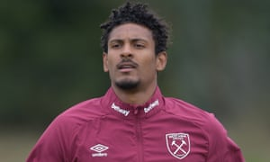 Sébastien Haller training at West Ham this week. He has not played since the Premier League season restarted.