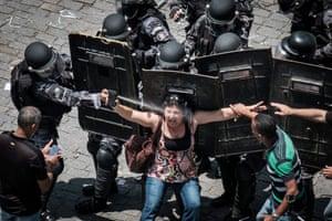 Civil servants protest against austerity measures in Rio de Janeiro, Brazil