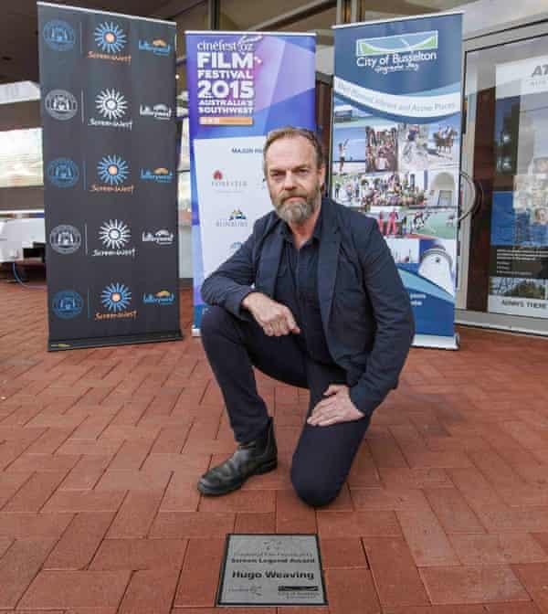Hugo Weaving in front of his CinefestOz 2015 screen legend plaque.