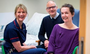 Pauline Cafferkey (right), with Breda Athan (left), senior matron, and Dr Michael Jacobs (centre), at the Royal Free hospital in London.