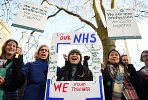 Junior doctors on strike outside University College hospital, London