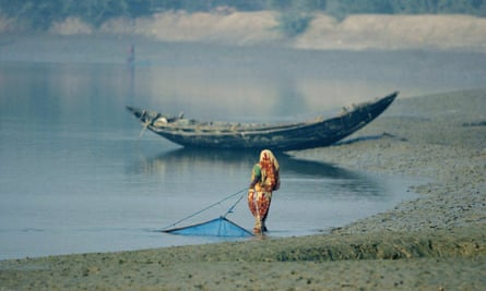 An Indian woman pulls a prawn fishing net from the mud embankment on the Matla river, in the Sundarbans delta.