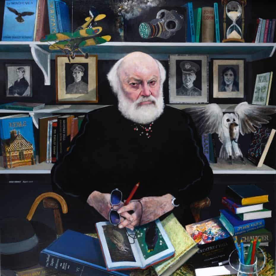 Sir Geoffrey Hill in a portrait by Keith Grant, 2015