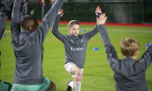 Girls and boys train at the Arsenal academy