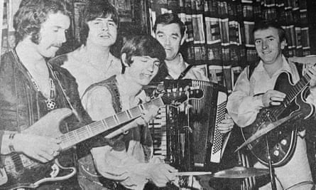 Richard Zobel on Nellie the accordion, with fellow members of the Nice'n'Easy Trio – Roger Wilson, far left, on guitar, and Roy Whittle, centre, on drums – jamming with other musicians.