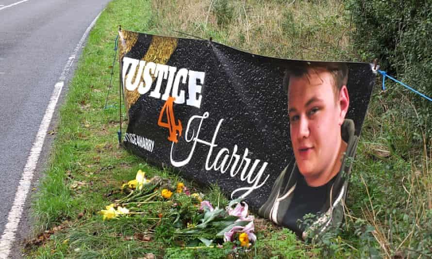 A banner near the site where Harry Dunn died.