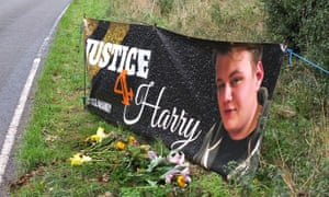A roadside tribute at the site where Harry Dunn died