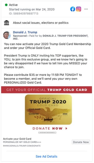 A Trump campaign ad offering a Trump Gold Card