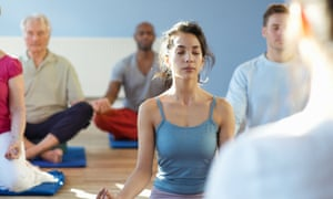 Woman in meditation class