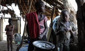 South Sudanese children fleeing from recent fighting in Lasu, Central Equatoria, stand in a church after crossing the border into the Democratic Republic of the Congo
