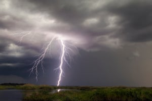 Negative lightning from a summer thunderstorm pictured in Christmas, Florida