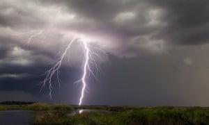 Lightning strikes near Christmas, Florida
