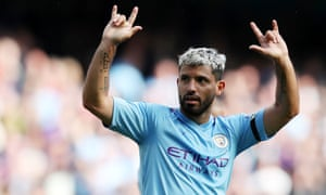 Sergio Agüero celebrates after scoring his second, and Manchester City's third goal.
