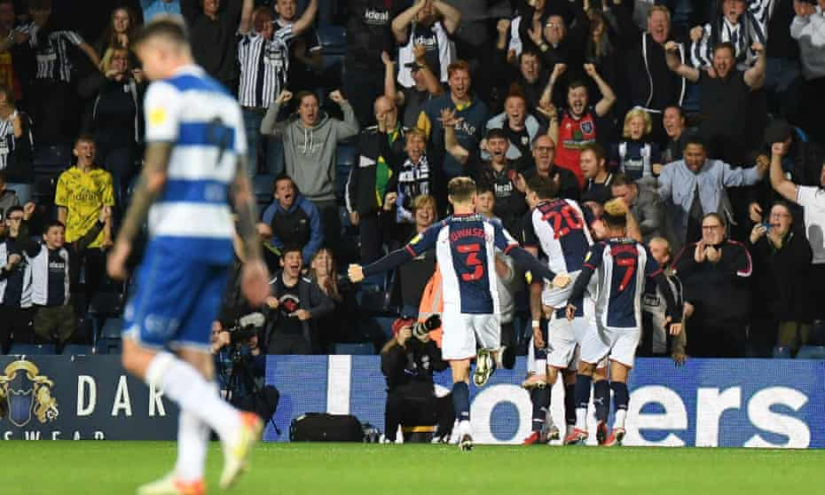 West Brom players and fans celebrate Karlan Grant's late winner