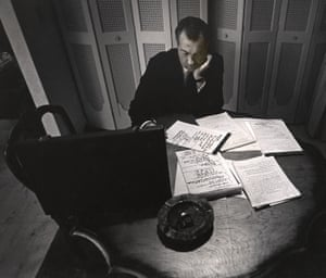 Richard Nixon, Miami Beach, 1968Alone in his hotel room, the presidential nominee Richard Nixon writes his acceptance speech at the 1968 Republican National Convention.