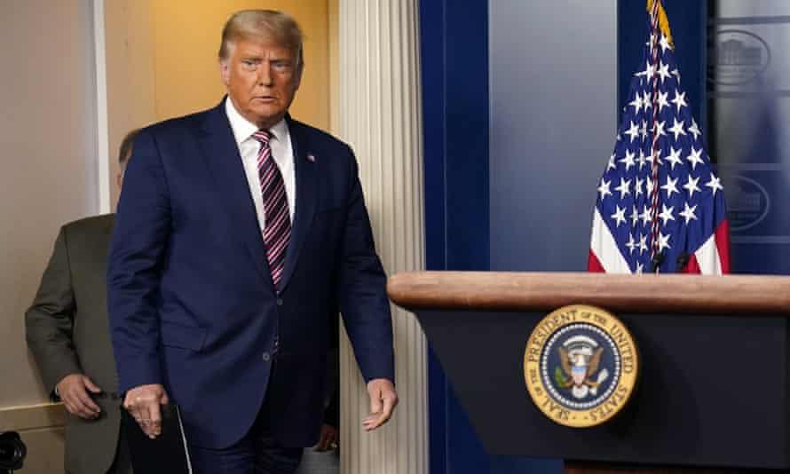 Donald Trump arrives to speak at the White House on 5 November 2020 in Washington DC.