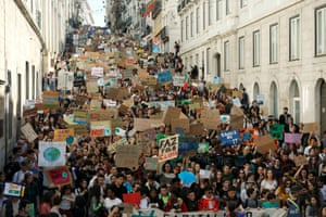 A huge crowd gathers in Lisbon, Portugal