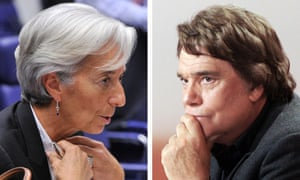 IMF chief Christine Lagarde and businessman Bernard Tapie. Investigators have been looking into whether Tapie was offered a deal in return for supporting Nicolas Sarkozy.