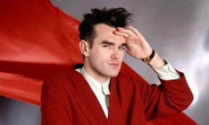 morrissey in 1985 wearing a red cardie