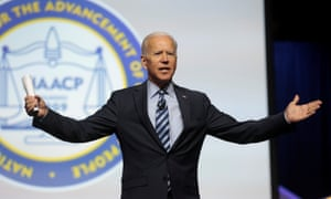 Joe Biden addresses the audience at the annual NAACP convention in Detroit, Michigan, on 24 July.