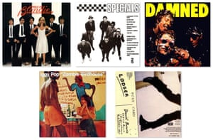 Album covers for (clockwise from far left) Parallel Lines, The Specials, Damned Damned Damned, Lodger, and Zombie Birdhouse