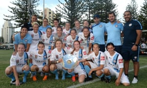 Melbourne City players and staff pose with the premier's plate, but there was little fanfare following the 1-0 win against Brisbane that sealed the W-League premiership.
