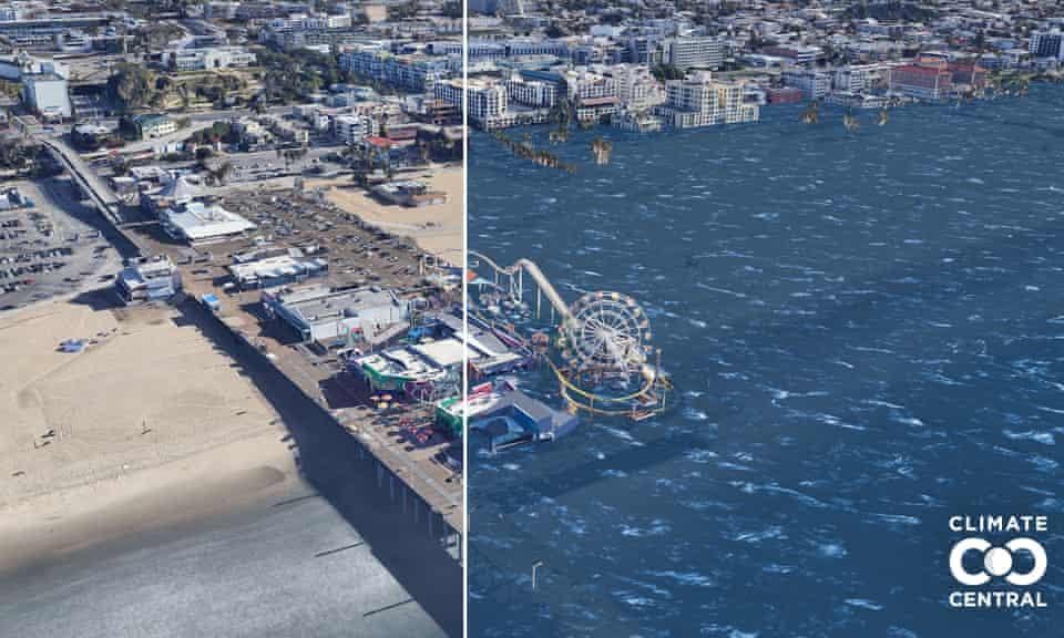 Projected sea level rise in Santa Monica Pier, California