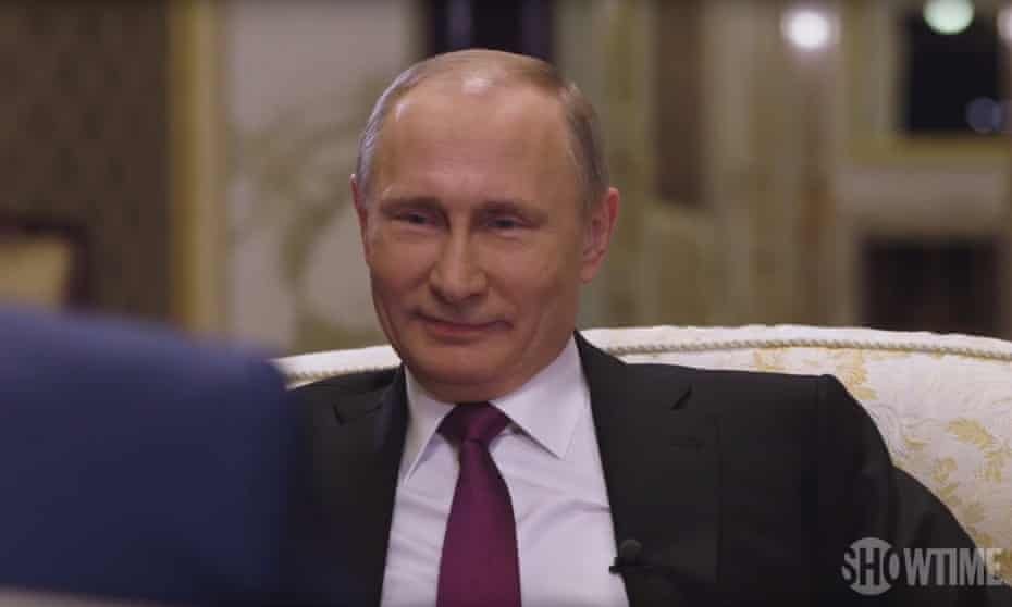 Vladimir Putin being grilled by Oliver Stone