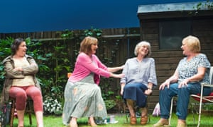 Garden piece … Linda Bassett as Mrs Jarrett, Deborah Findlay as Sally, Kika Markham as Lena and June Watson as Vi in Escaped Alone.