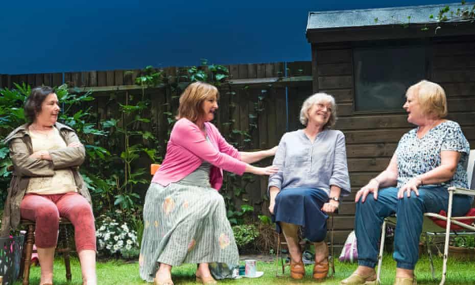 Garden piece … Linda Bassett as Mrs Jarrett, Deborah Findlay as Sally, Kika Markham as Lena and June Watson as Vi in Escaped Alone.