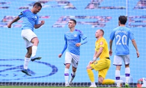 Gabriel Jesus of Manchester City celebrates after scoring his teams second goal.