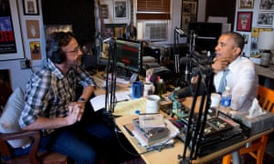 Barack Obama recording Maron's podcast