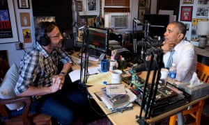 Barack Obama appearing on Marc Maron's podcast.