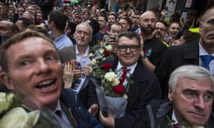 Tom Watson (centre, holding flowers) with Chris Bryant, Jeremy Corbyn and John McDonnell at the vigil for the victims of the Orlando nightclub shooting, outside the Admiral Duncan pub on Old Compton Street, Soho, on Monday.