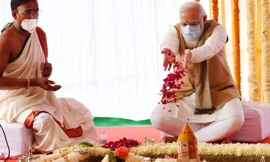 Narendra Modi, right, performing foundation stone-laying ritual for the new parliament building in December