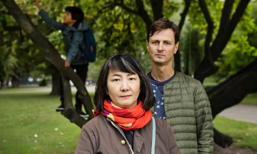 Haruko Tomioka, with her husband, Greg, and son.