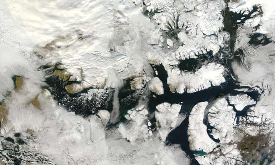 This photo shows a portion of Canada's Northwest Passage largely free of ice. Climate change means the waters of the Arctic will increasingly become a sphere of competition between countries including the US and Russia.