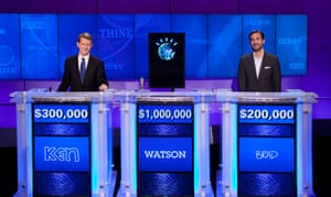 Watson on Jeopardy with two defeated human contestants