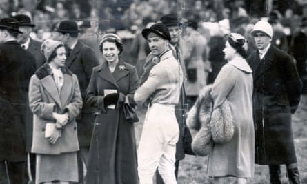 Author and former jockey Dick Francis pictured with the Queen, Princess Margaret and the Queen Mother at Aintree in 1956. Francis rode Devon Loch, the Queen Mother's horse.