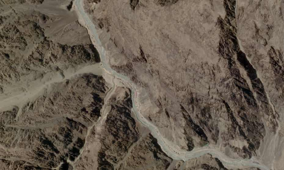 A satellite image taken on 16 June showing Chinese military personnel in the Galwan Valley.